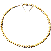 "Vintage Art Deco 14k Yellow Gold 6mm Bead Necklace 16-3/4"" Long"