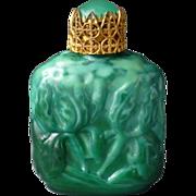 Vintage Czech Miniature Malachite Glass Perfume Bottle ~ Molded Iris Flower Motif