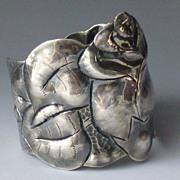 Big Bold Sterling Silver Rosebud Bracelet Handmade & Hammered Rose Cuff