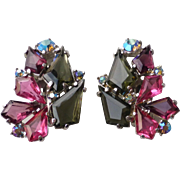 Vintage Signed Schiaparelli Faceted Glass and Rhinestone Clip Earrings