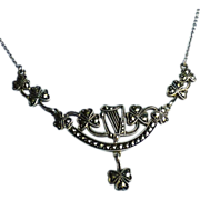 Vintage Sterling Marcasite Irish Motif Harp & Shamrock Necklace Deco Germany