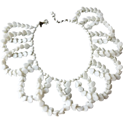 Vintage Miriam Haskell Large White Glass Beaded Collar Necklace with Unusual Heart Shaped Beads