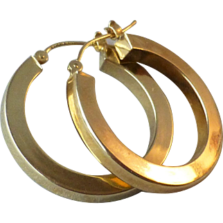 Vintage Pair 14k Yellow Gold Hollow Squared-Off square Tube Hoop Earrings