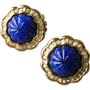 Signed Christian Dior Faux Blue Lapis Glass & Rhinestone Clip Earrings