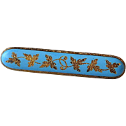 Antique 14k Gold & Blue Enamel Bar Pin with Chased Gold Leaves & Gold Filled Stick Pin