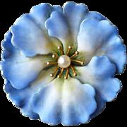 Antique A. J. Hedges 14k Yellow Gold & Enamel Blue Flower Pin