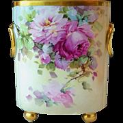Vintage William Guerin Limoges France Cache Pot Vase Hand Painted Roses signed Ida Sommer
