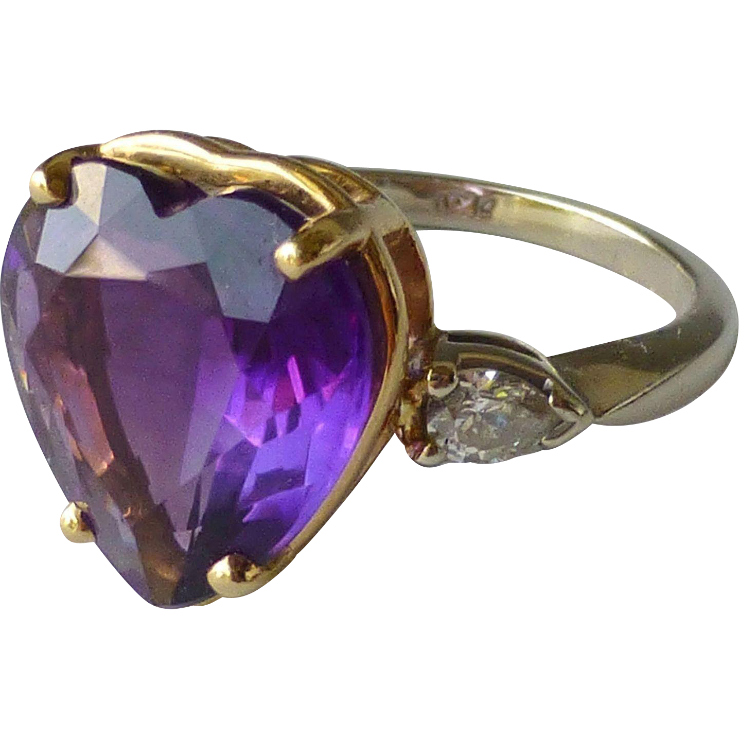 Vintage 14k yellow and white gold diamond and amethyst for Best place to sell gold jewelry in chicago
