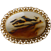 Antique 14k Gold Cannetille Filigree Moss Agate / Dendritic Agate Brooch Pin