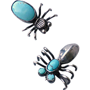 2 Small Vintage Native American Indian Navajo Sterling Silver Turquoise Bug Insect Pins