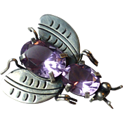 Vintage Mexican Sterling Silver & Amethyst Glass Bug Fly Bee Pin