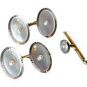 Larter & Sons Art Deco 14k Yellow & White Gold, Cultured Pearl & Mother of Pearl Oval Tuxedo Cufflinks + 1 Stud