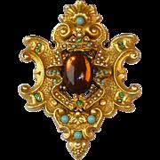 Large Signed ART Vintage Rhinestone & Cabochon Set Cartouche Shaped Pin Brooch