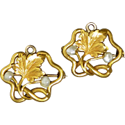 Pair Antique 14k Yellow Gold and Freshwater Seed Pearl Small Lingerie Pins or Pendants