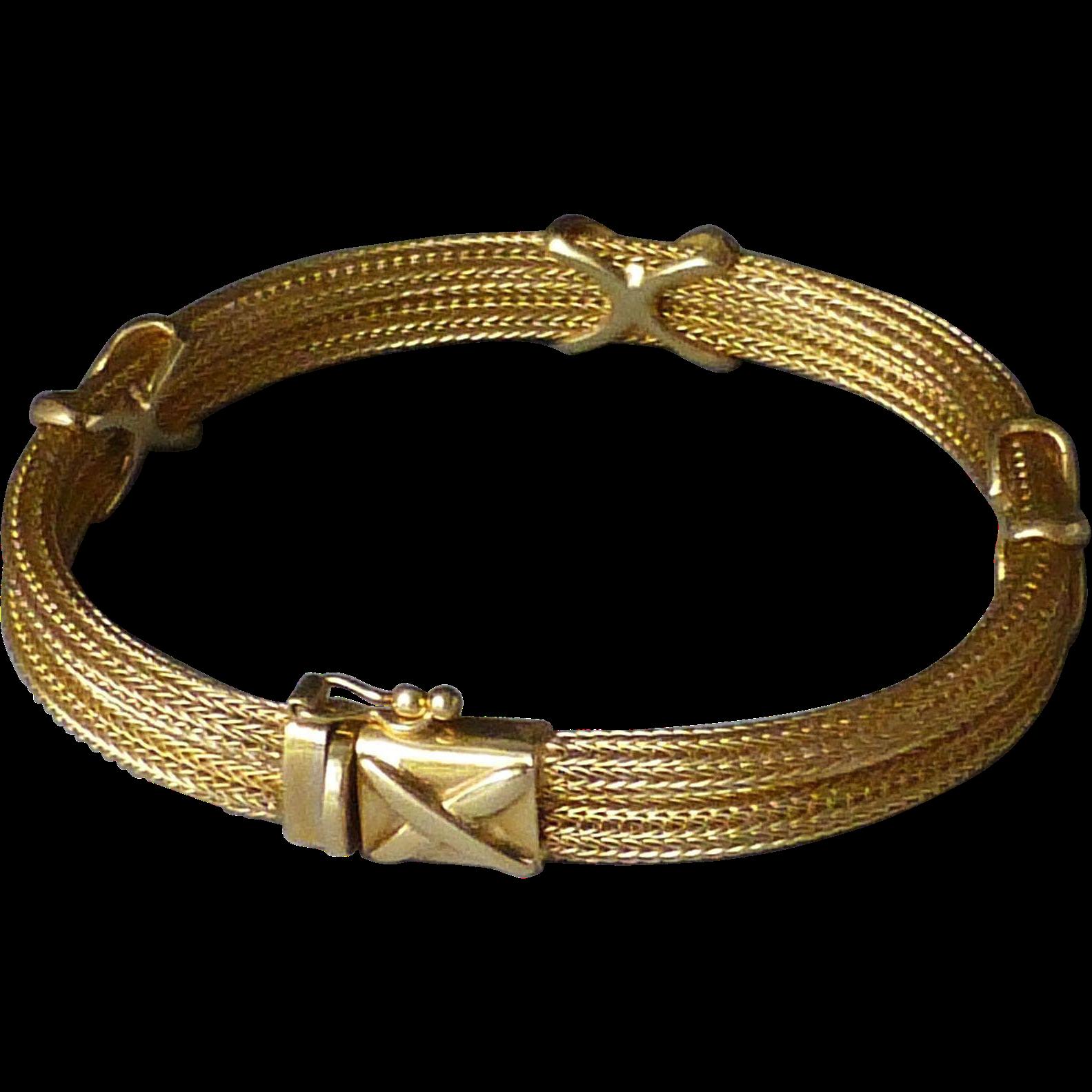 Gold Band Bracelet: Italian 14k Gold Double Band Flexible Mesh Chain X Motif