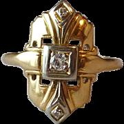 Vintage Art Deco 14k Yellow & White Gold Diamond Ring
