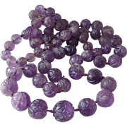 """Gorgeous Large Vintage Natural Chinese Amethyst Carved Bead Necklace 37"""" Long, 204 Grams"""