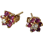 Vintage 14k Gold, Diamond & Pink Spinel Little Flower Pierced Earrings