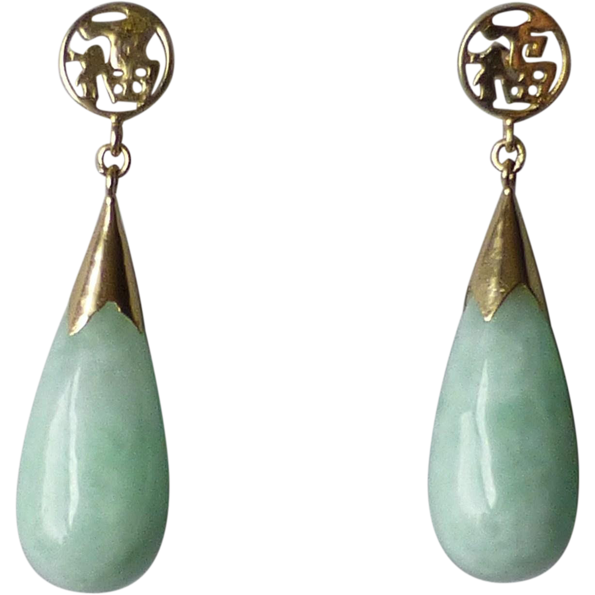 Vintage 14k Yellow Gold Light Green Jade Drop Earrings For Pierced Chosen Ruby Lane