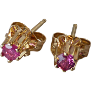 Vintage Little 14k Yellow Gold & Pink Spinel Pierced Stud Earrings ~ High Buttercup Setting