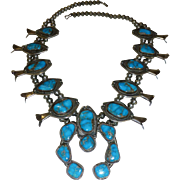 Large Vintage Native American Navajo Indian Silver and Turquoise Squash Blossom Necklace 282 grams