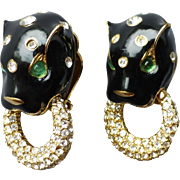 Signed Ciner Black Enamel Panther Leopard Rhinestone Clip Earrings