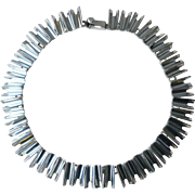 Vintage Mexican Heavy Sterling Silver Modernist Link Necklace 120 grams