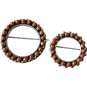 Two Vintage Sterling Silver Native American Indian Zuni Coral Petit Point Circle Wreath Pins