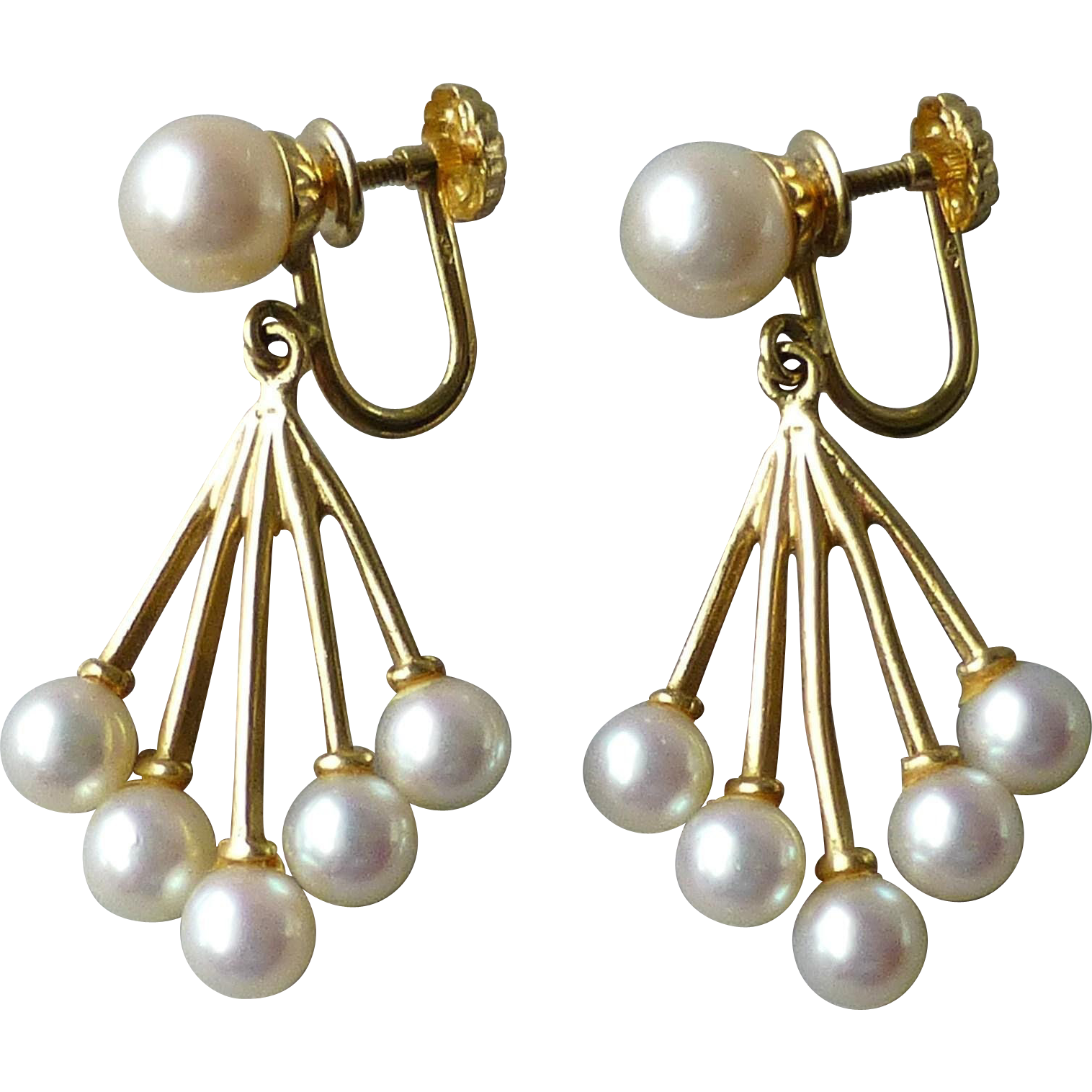 Vintage 14k yellow gold cultured pearl screw back drop for Best place to sell gold jewelry in chicago