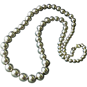 "Classic Sterling Silver Graduated Ball Bead Necklace 23-1/2"" Long 52 grams"