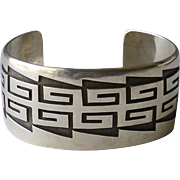 Native American Hopi Indian Silver Overlay Cuff Bracelet by Raymond Sequaptewa with Hopi Guild Mark