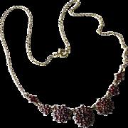 Vintage Rose Cut Garnet & Gilt Sterling Silver Necklace