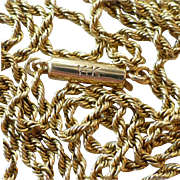Vintage 14k Yellow Gold Rope Chain Necklace with Barrel Clasp ~ 22-1/4 inches Long