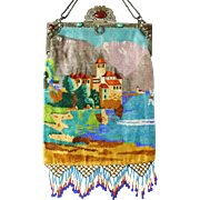 Large Vintage Scenic Figural Beaded Purse Castle on a Mountain Lake Scene with Glass Cabochon Jeweled Frame and Clasp