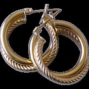 Double Hoop Twist 14k Yellow Gold Pierced Earrings
