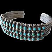 Vintage Native American Indian Zuni Snake Eye 3 Row Turquoise Sterling Silver Cuff Bracelet