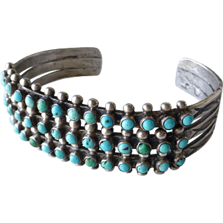 Vintage Native American Indian Zuni Snake Eye 3 Row Turquoise Sterling Silver Cuff Bracelet