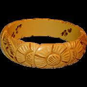 Vintage Yellow Banana Cream Carved Flowers and Pierced Bakelite Bangle Bracelet Creamed Corn