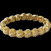 Vintage Italian 18k Yellow Gold Flower Dome Link Bracelet 21.5 Grams