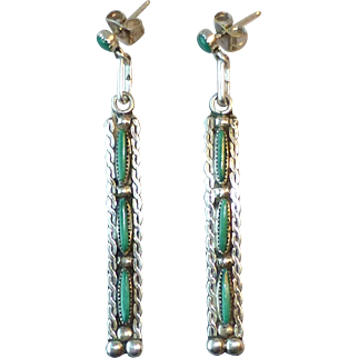 Vintage Native American Zuni Sterling Silver and Green Turquoise Needlepoint Pierced Earrings ~ 2-1/16 Inches Long