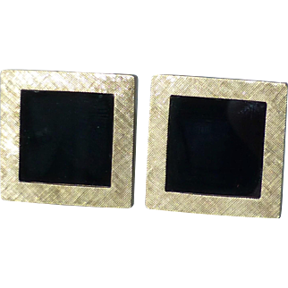 Vintage Pair 14k Textured Yellow Gold and Polished Black Onyx Square Cufflinks ~ 17.3 grams