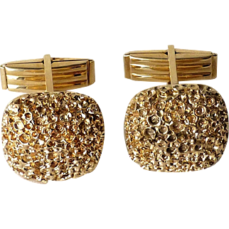 Modernist 14k Yellow Gold Organic Lava Moon Crater Textured Cufflinks ~ Heavy 21.6 grams!