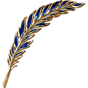 Signed Trifari Blue Enamel Large Feather Pin ~ 4-1/8 inches Long