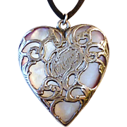 Rare Antique Large Sterling Silver Overlay on Mother of Pearl Carved Heart Pendant Necklace ~ Engraved Alma