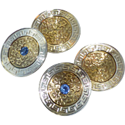 Vintage Art Deco Era 10k Yellow and White Gold Cufflinks with Sapphires and a Greek Key Border
