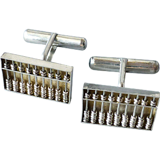 Vintage Pair Sterling Silver Chinese Abacus Cufflinks, Signed and Marked Hong Kong