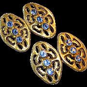 Vintage Art Deco Era 14k Yellow Gold Openwork Double Sided Sapphire Cufflinks