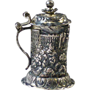 Antique Miniature Silver Plate on Copper Figural Beer Stein Form Sewing Thimble Holder with English Sterling Thimble
