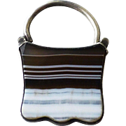 Antique Victorian Silver and Banded Agate Lock Clasp Charm Fob Padlock
