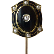 Antique 10k Yellow Gold and Enamel Stickpin, Diamond, Seed Pearl and Black Onyx Stick Pin